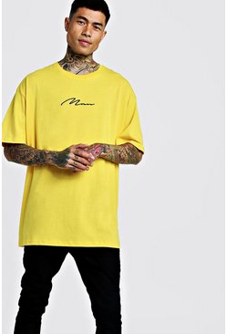 Mens Yellow Oversized Man Signature Embroidered T-Shirt