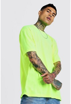 Mens Neon-yellow Oversized Crew Neck T-Shirt