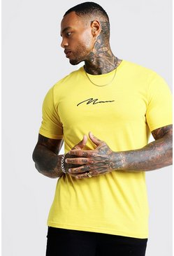 Mens Yellow Man Signature Embroidered T-Shirt