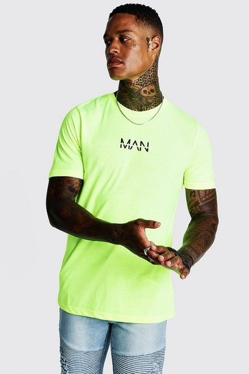 Mens Neon-yellow Original Man Logo Print T-Shirt