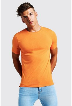 Mens Neon-orange Basic Crew Neck T Shirt