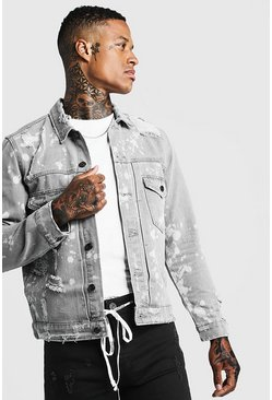 Mens Light grey Ripped Denim Jacket With Bleach Effect