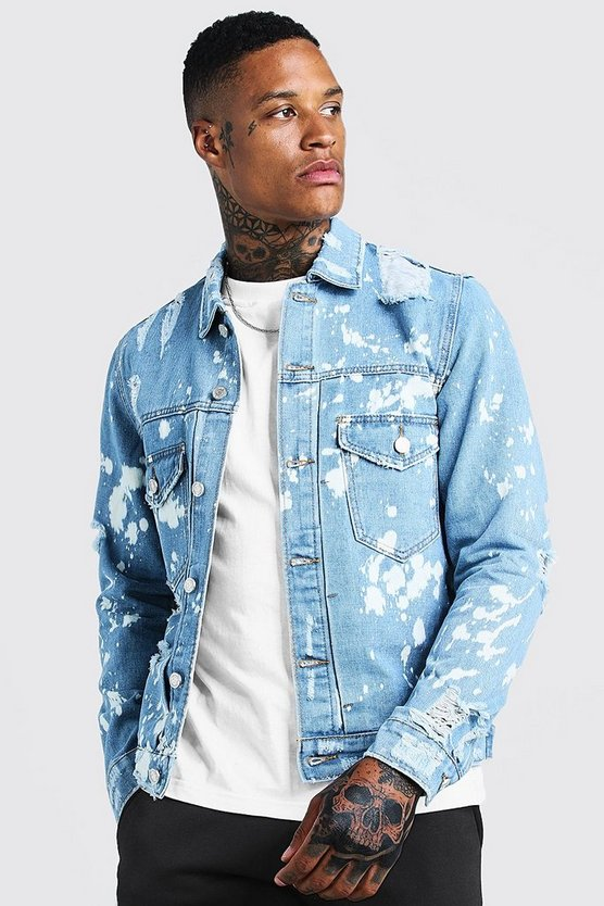 Mid blue Ripped Denim Jacket With Bleach Effect
