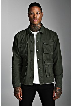 Mens Khaki Utility Zip Detail Denim Jacket