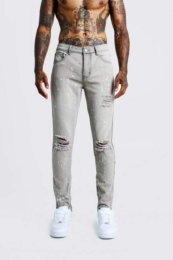 Light grey Skinny Ripped Knee Jeans With Bleach Effect