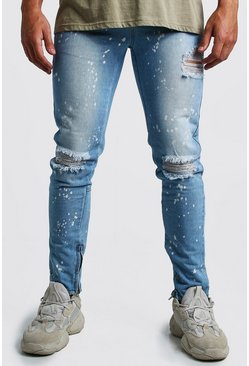 Mens Mid blue Skinny Ripped Knee Jeans With Bleach Effect