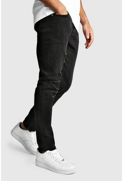Herr Washed black Worn Skinny Jean With Ankle Zips