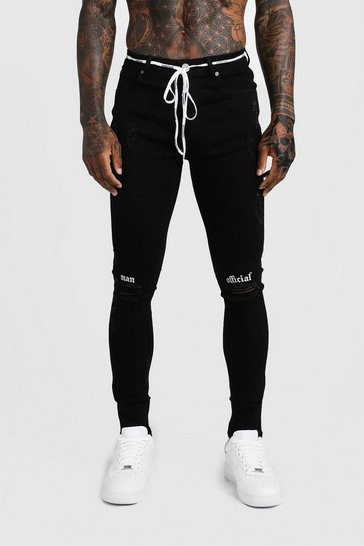 Mens Black Super Skinny Ripped Knee Jean With Embroidery