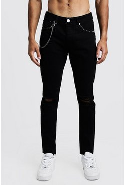Mens Black Skinny Jean With Stud & Chain Detail