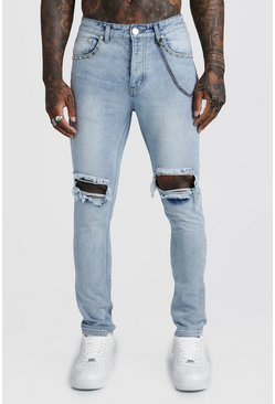 Light blue Skinny Jean With Stud & Chain Detail