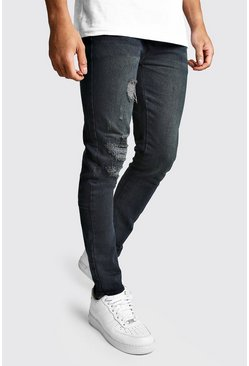 Mens Dark indigo Super Skinny Jeans With Busted Knees