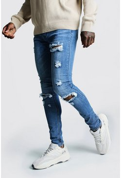 Mens Mid blue Super Skinny Jeans With Busted Knees