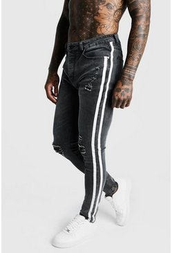 Grey Super Skinny Distressed Jeans With Side Tape
