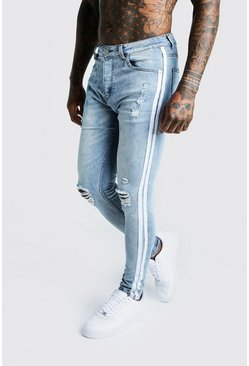 Mens Light blue Super Skinny Distressed Jeans With Side Tape