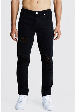 Steife Slim-Fit Jeans in Used-Optik, Verwaschenes schwarz