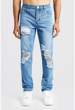 Mens Vintage blue Slim Fit Rigid Distressed Denim Jeans