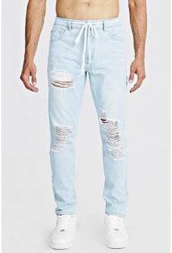Blue Slim Fit Distressed Jean With Shoelace Belt