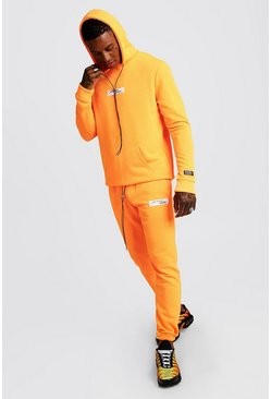 Mens Neon-orange Neon MAN Collection Hooded Tracksuit