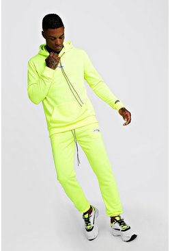 Mens Neon-yellow Neon MAN Collection Hooded Tracksuit