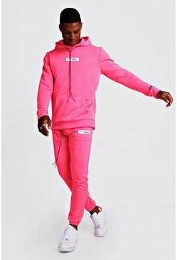 Mens Neon-pink Neon MAN Collection Hooded Tracksuit