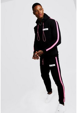 Black MAN Collection Neon Tape Hooded Tracksuit