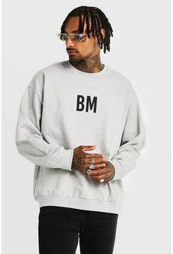 Oversized BM Print Sweater, Grey, Uomo