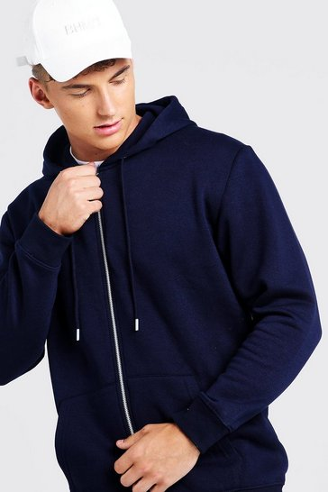 Mens Navy Longline Zip Through Hoodie