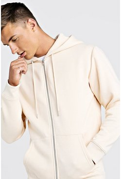 Ecru Longline Zip Through Hoodie