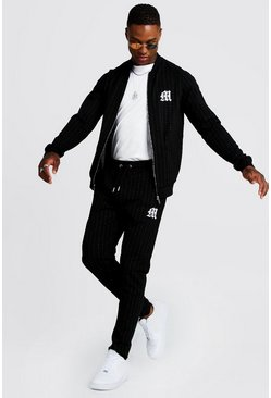 Mens Black 'M' Embroidered Pinstripe Bomber Tracksuit
