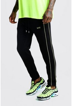 Mens Black Original MAN Skinny Fit Jogger With Neon Green Side Piping