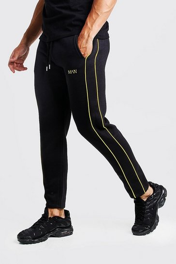 Mens Black Original MAN Skinny Fit Jogger With Yellow Side Piping