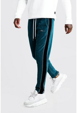 Mens Teal MAN Signature Velour Jogger With Piping