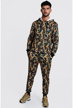Mens Black All Over Baroque Printed Hooded Tracksuit