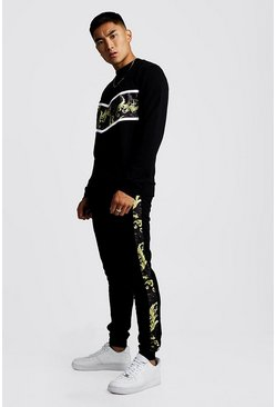 Herr Black Baroque Panelled Sweater Tracksuit