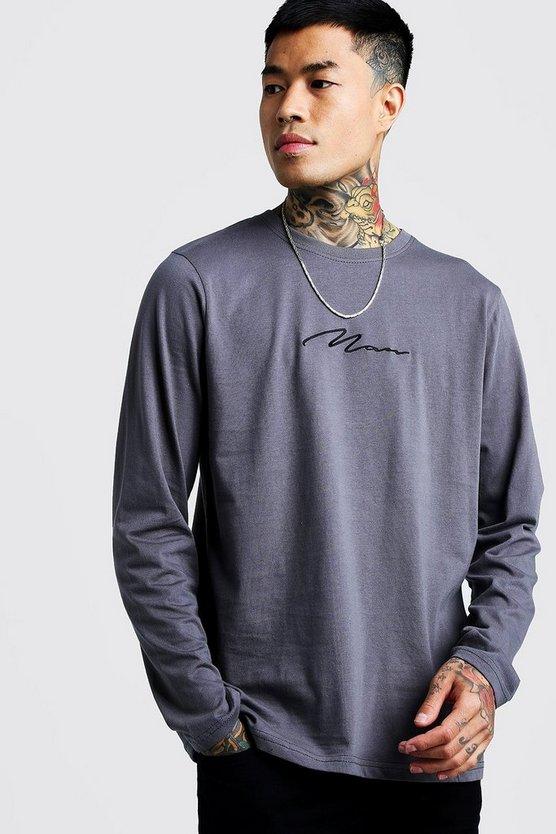 Man Signature Long Sleeve T Shirt by Boohoo