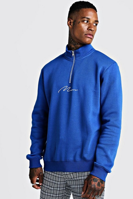 Cobalt MAN Signature Half Zip Funnel Neck Sweater