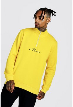 Mens Yellow MAN Signature Half Zip Funnel Neck Sweater