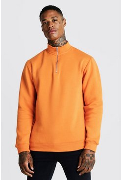 Mens Neon-orange Half Zip Funnel Neck Sweater