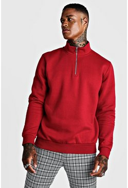 Mens Red Half Zip Funnel Neck Sweater