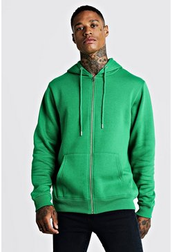 Mens Green Zip Through Fleece Hoodie