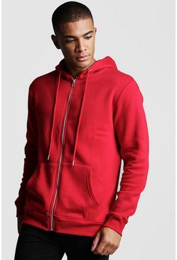 Mens Red Zip Through Fleece Hoodie