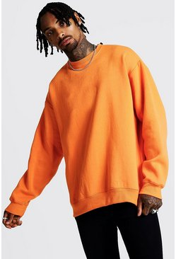Mens Neon-orange Fleece Oversized Sweatshirt