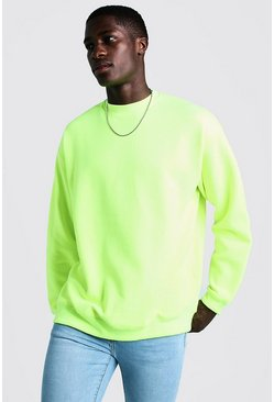 Oversized Sweatshirt aus Fleece, Neon-gelb, Herren