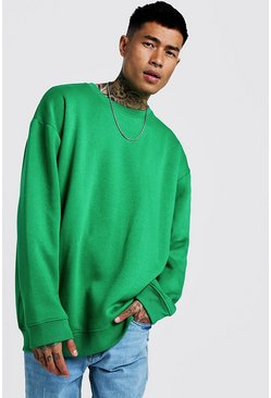 Mens Green Fleece Oversized Sweatshirt