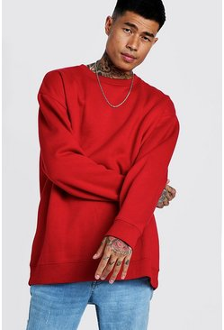 Sweat en polaire oversize, Rouge, Homme