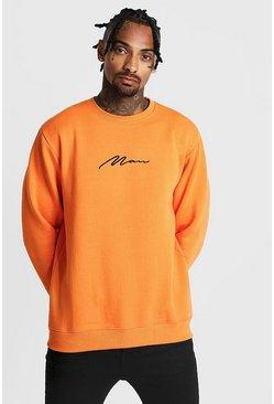 Mens Neon-orange MAN Signature Sweater