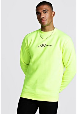 Mens Neon-yellow MAN Signature Sweater