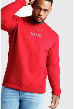 Mens Red Original MAN Print Sweater