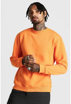 Mens Neon-orange Crew Neck Sweatshirt