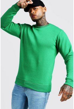 Mens Green Crew Neck Sweatshirt